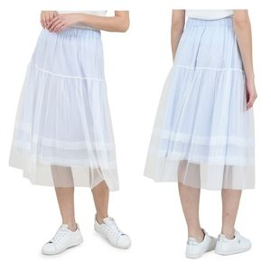 MOLLY BRACKEN Striped Tulle Midi Skirt